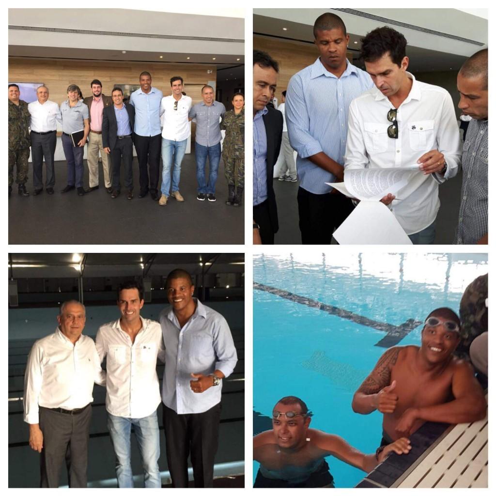 Edvaldo se encontrou com Luiz Lima no dia do anúncio da piscina olímpica em Salvador - Foto: Reprodução