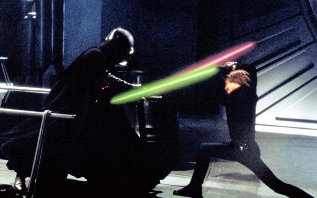 Pai e filho no duelo final de O Retorno de Jedi