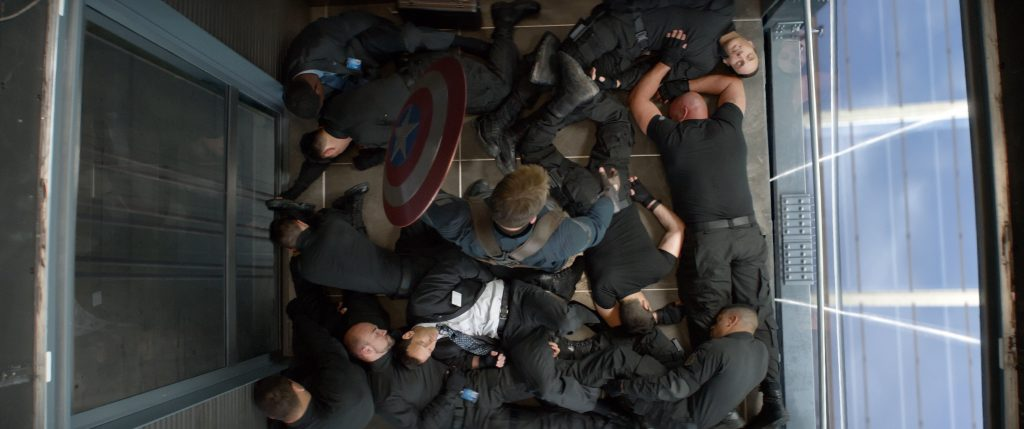 "Chris Evans as Captain America/Steve Rogers, center, in a scene from the motion picture ""Captain America: The Winter Soldier."" CREDIT: Marvel [Via MerlinFTP Drop]"