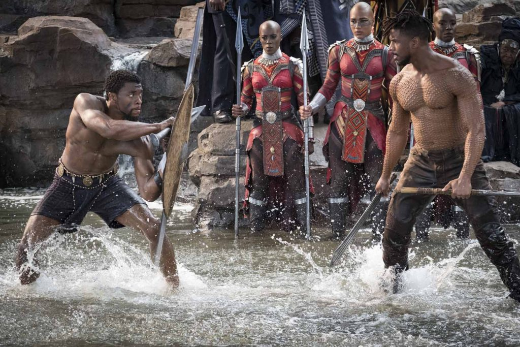 Marvel Studios' BLACK PANTHER..L to R: T'Challa/Black Panther (Chadwick Boseman) and Erik Killmonger (Michael B. Jordan)..Photo: Matt Kennedy..©Marvel Studios 2018