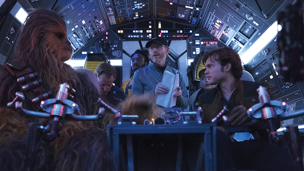 Joonas Suotamo, Woody Harrelson, Donald Glover, Ron Howard, Emilia Clarke and Alden Ehrenreich on the set of SOLO: A STAR WARS STORY.