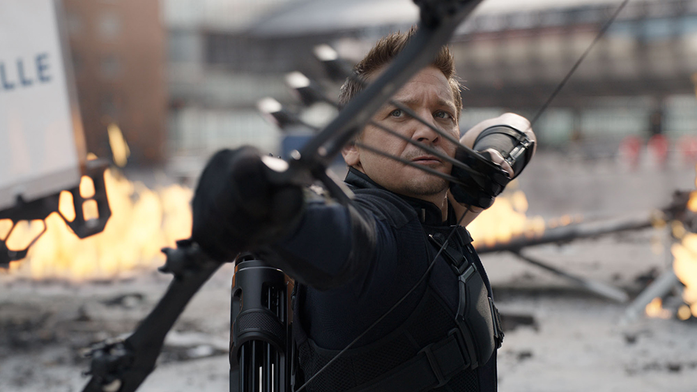 Editorial use only. No book cover usage. Mandatory Credit: Photo by Marvel Studios/Kobal/REX/Shutterstock (5886221t) Jeremy Renner Captain America - Civil War - 2016 Director: Anthony Russo / Joe Russo Marvel Studios USA Scene Still Action/Adventure