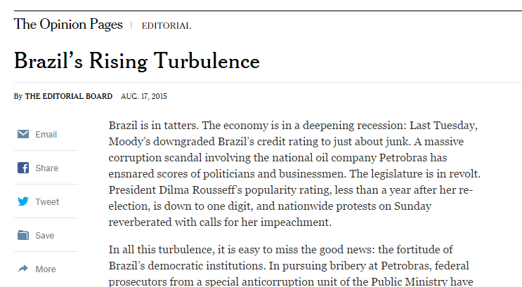 Editorial do New York Times, agosto de 2015