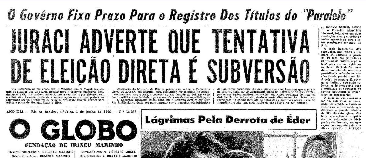 Resultado de imagem para eleições 1966 brasil