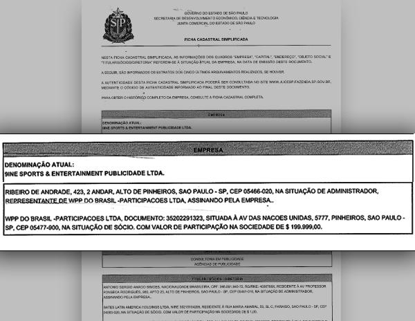 Registro da 9ine mostra que a principal sócia é a WPP Brasil