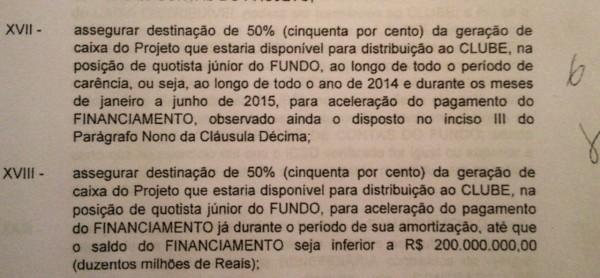 Veja no contrato como o Corinthians tem que reservar parte das suas rendas no estádio para conta reserva para pagamento da dívida