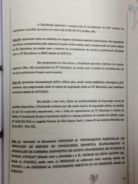 Resposta da N & N à Receita em que explica que havia uma minuta de contrato de trabalho entre Neymar e o Barcelona, datada de 15 de novembro.
