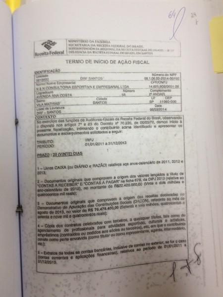 Documento que marca o início da ação fiscal da Receita sobre a empresa N & N com pedido de documentos, em março de 2014.