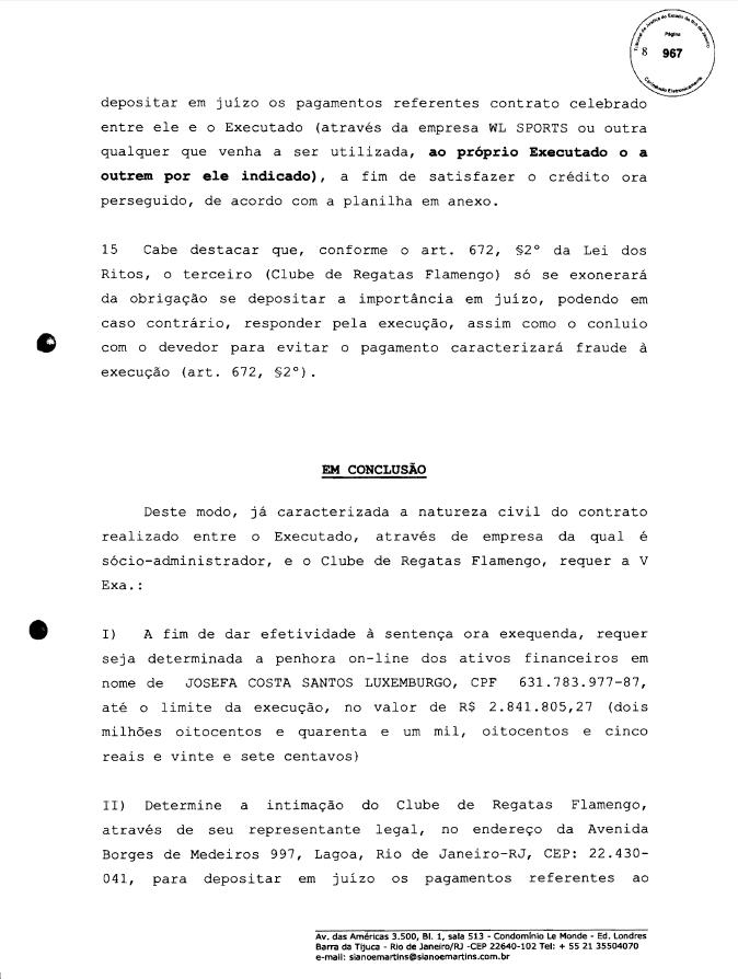 Justiça penhora parte do salário de Luxemburgo no Fla para pagar Edmundo