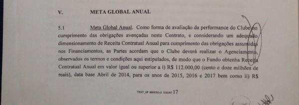 Cláusula 5a do contrato estabelece meta anual de receita do Itaquerão de R$ 112 milhões nos três primeiros anos