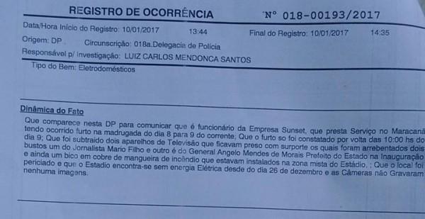 Boletim de Ocorrência do roubo no Maracanã
