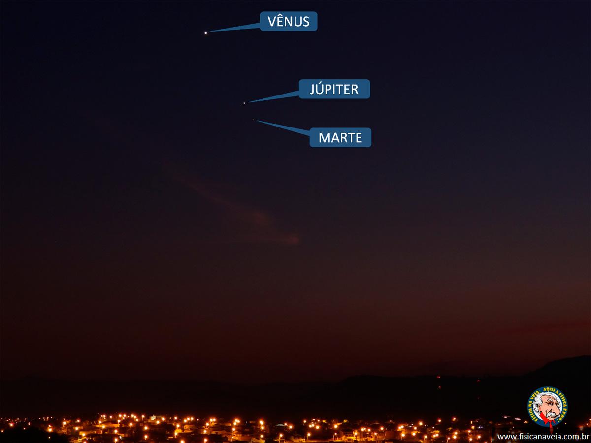 Vênus, Júpiter e Marte registrados na madrugada de 19 de outubro de 2015. Crédito: Dulcidio Braz Jr (Física na Veia!)