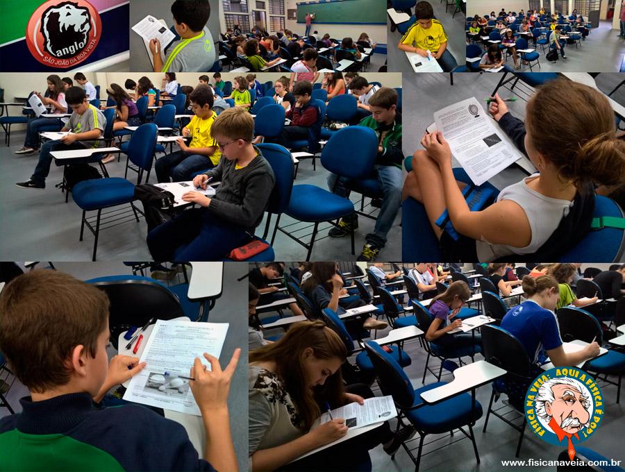 Alunos do ensino fundamental do Anglo São João, São João da Boa Vista, SP, na OBA 2016.