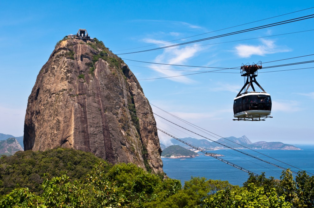 Sugarloaf Mountain with the Cable Car, a Landmark of Rio de Janeiro, Brazil.