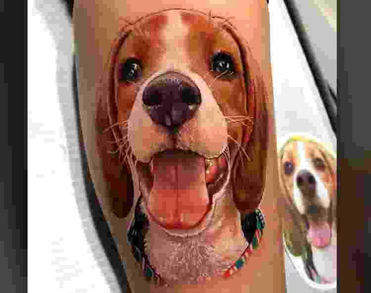 Tatuagem reproduz sorriso de cachorro  - Reprodução/Facebook - Reprodução/Facebook