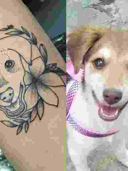 Donos fazem tatuagem em homenagem a pets; na foto, Daíza e a cachorrinha Cacau - Reprodução/Facebook