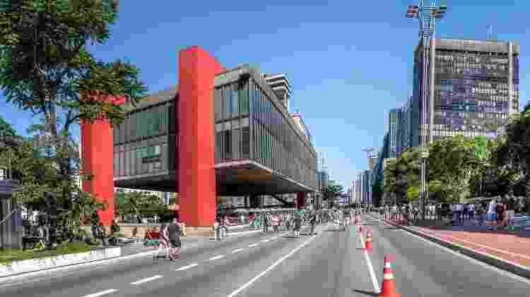 Paulista Avenue closed to cars on sunday and MASP (Sao Paulo Museum of Art) - Sao Paulo, Brazil -  -