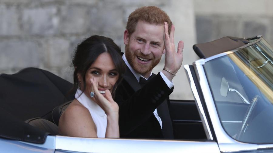 Os duques de Sussex chegam à recepção do casamento real, em Windsor -