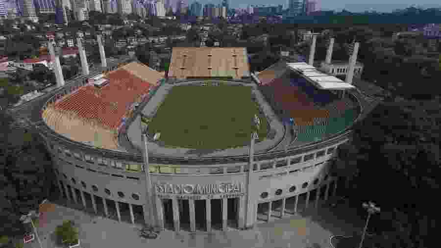 Estádio do Pacaembu, em São Paulo, visto de cima -