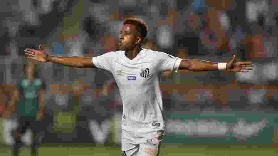 Rodrygo comemora gol com a camisa do Santos - Reprodução