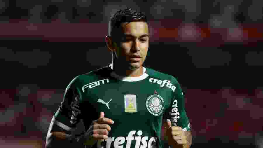 Dudu durante jogo do Palmeiras no Campeonato Paulista -