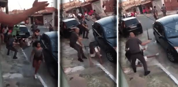 Policiais militares são flagrados agredindo jovens em baile funk na zona sul de São Paulo - Reprodução/YouTube/Marcos Brandão