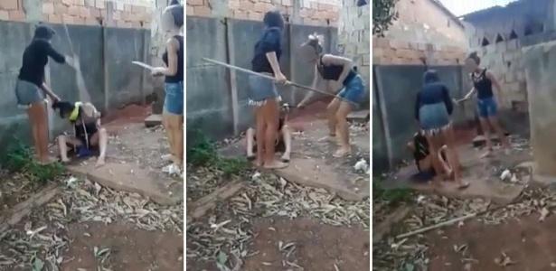 Cenas do vídeo que as adolescentes gravaram machucando a vizinha de 14 anos