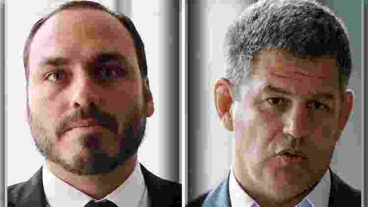 O vereador Carlos Bolsonaro e o ministro Gustavo Bebianno - Folhapress/AFP/Montagem BOL - Folhapress/AFP/Montagem BOL
