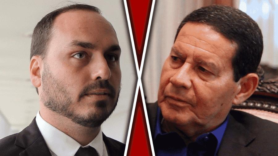 Abr.2019 - Carlos Bolsonaro x Hamilton Mourão - montagem horizontal - Arte BOL: Sergio Lima/AFP e Taís Vilela/UOL