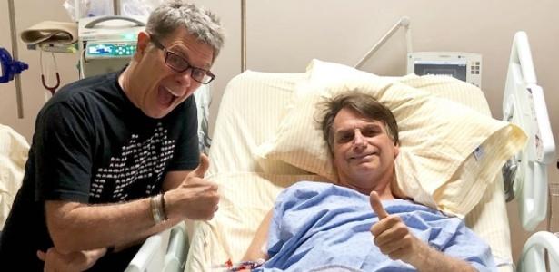 Bolsonaro recebeu a visita do cantor Roger antes de ter de passar por nova cirurgia