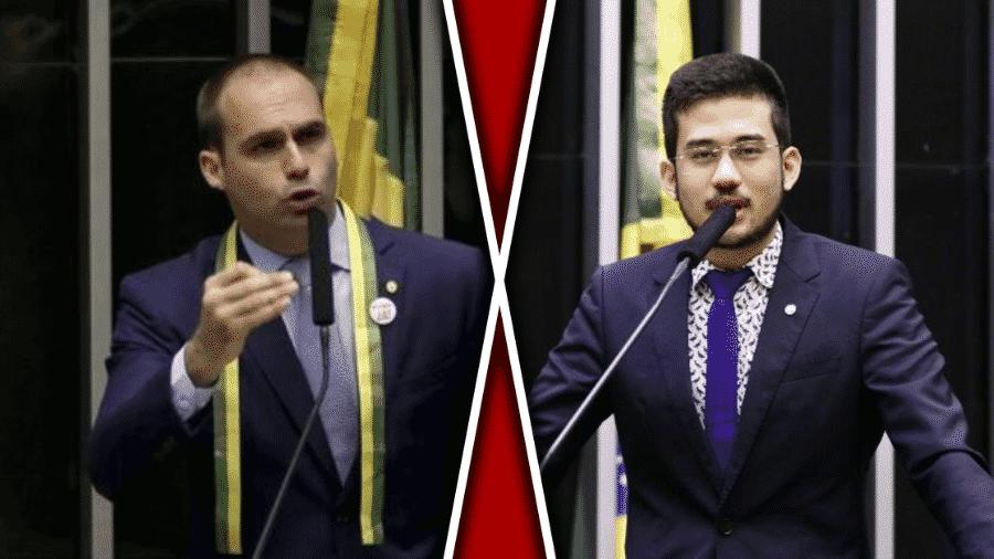 Ago.2019 - Eduardo Bolsonaro e Kim Kataguiri - montagem horizontal BOL - Wilson Dias/Agência Brasil e Luis Macedo/Câmara dos Deputados