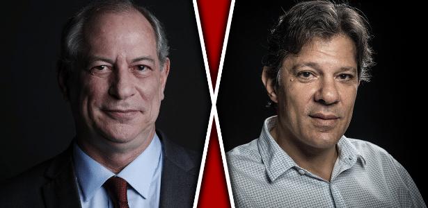 Os candidatos à Presidência Ciro Gomes (PDT) e Fernando Haddad (PT)