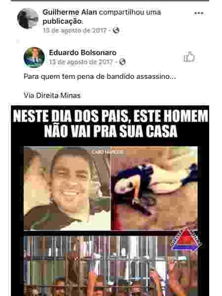 Publicação de Eduardo Bolsonaro (PSL-SP) compartilhada por Guilherme - Reprodução/Facebook - Reprodução/Facebook