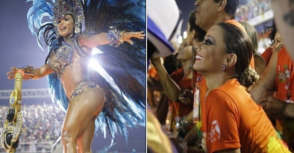 9.fev.2016 - Sorridente, Viviane Araújo assiste Gracyanne Barbosa, mulher do seu ex-marido, o cantor Belo, a desfilar pela Portela na Sapucaí. Será que ela já perdoou a traição do passado?