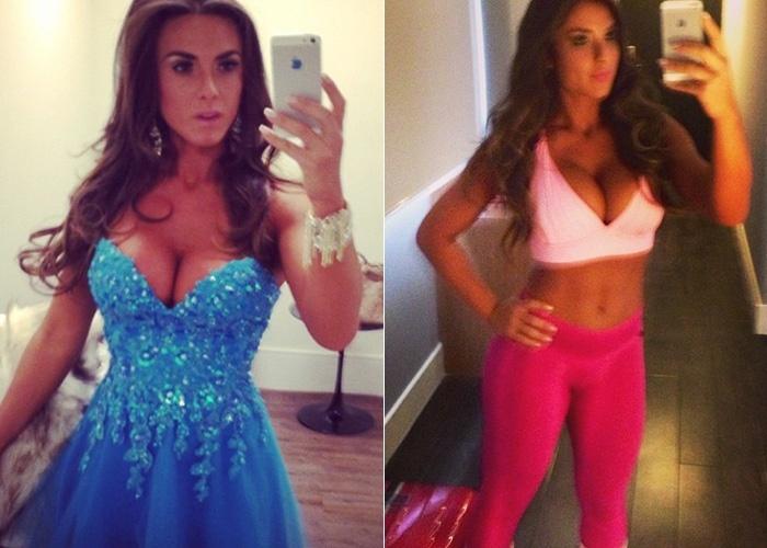 17.jun.2013 - Nicole Bahls divulga no Instagram dois visuais diferentes: um vestido tomara-que-caia com brilhantes, na noite de domingo (16), e uma roupa para a malhação logo cedo na manhã de segunda-feira (17)