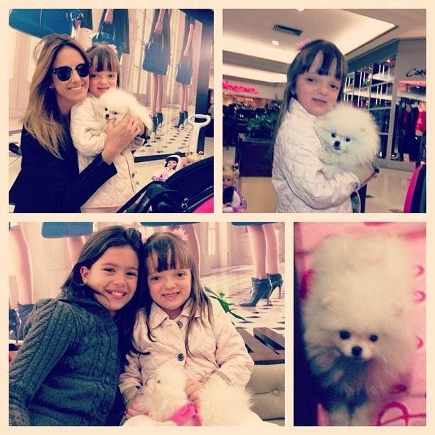 8.set.2013 - Rafaella Justus ganhou um animal de estimação neste sábado (7). A mamãe Ticiane publicou em seu Instagram uma foto da filha com Pink, que estava enfeitada com um laço rosa. Orgulhosa, a mamãe escreveu na legenda: