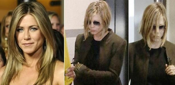 Após uma progressiva malsucedida, Jennifer Aniston não teve outra alternativa a não ser cortar os cabelos e eliminar boa parte dos fios que ficaram comprometidos pela química agressiva - Reuters/Reprodução