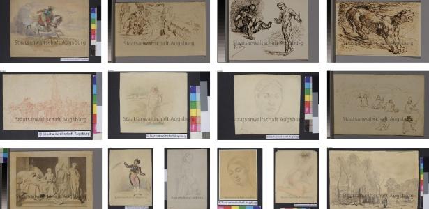 Desenhos ou aquarelas de Picasso, Degas, Delacroix e Cezanne estão entre as 1.406 obras de arte encontrado em Munique - AFP