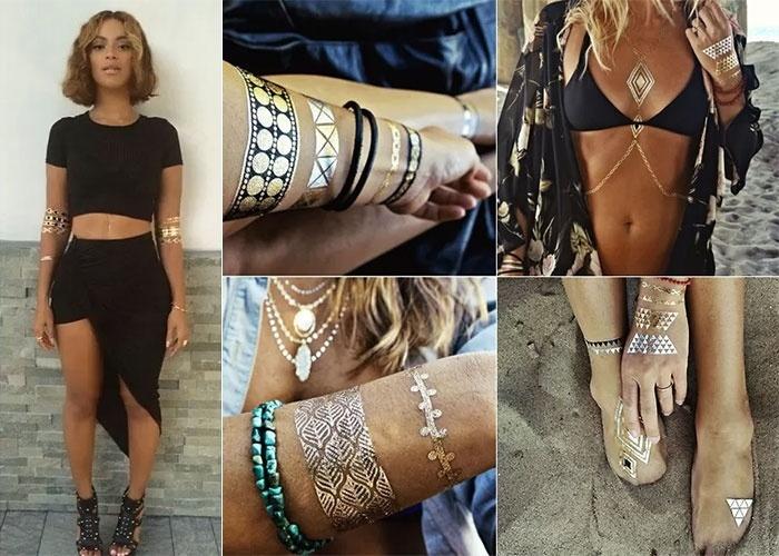 10.set.2014 - Já ouviu falar em tatuagem de pó de ouro? Beyoncé (foto) e outras celebridades gringas já aderiram à moda, que promete ser sucesso no verão do Brasil. A ideia foi lançada em 2012 pela grife francesa Dior, em forma de pó de ouro, e ganhou uma versão mais popular comercializada online pela Flash Tattoo (http://flashtat.com/). O adesivo dura entre quatro e seis dias e custa, em média, US$ 22. As interessadas podem comprar pelo site, já que ele entrega no Brasil. O frete é de US$ 10; veja a seguir alguns modelos de outras marcas que também produzem este mimo para a pele