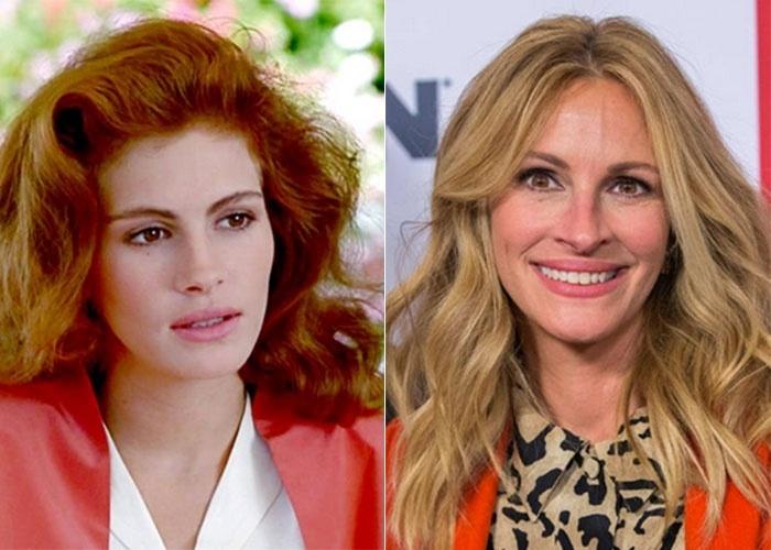 """20.out.2014 - À esquerda, Julia Roberts, aos 22 anos, no filme """"Uma Linda Mulher""""; À dir, a beldade atualmente, aos 47 anos"""