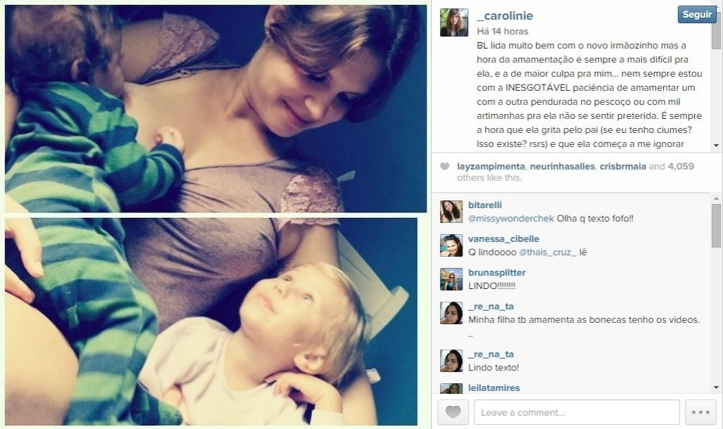 22.out.2014 - Carolinie Figueiredo mostrou suas duas fofuras em um momento bem família aos seguidores do Instagram. Na legenda da imagem, a atriz explicou que Bruna, de 2 anos, está aprendendo a dividir as atenções com o caçula, Theo, de 6 meses.