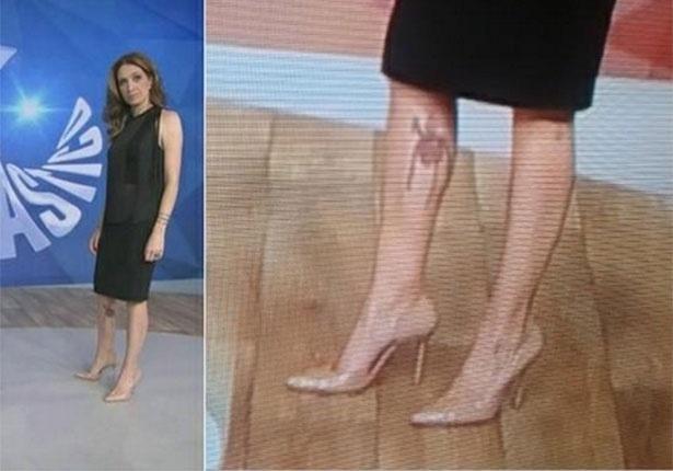1.nov.2014 - Um dos assuntos mais comentados em redes sociais, a tatuagem na panturrilha da perna direita de Poliana Abritta, nova apresentadora do