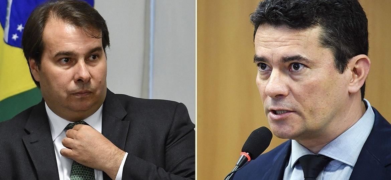 O presidente da Câmara dos Deputados, Rodrigo Maia, e o Ministro da Justiça, Sergio Moro - Mateus Bonomi/Folhapress e Evaristo Sá/AFP