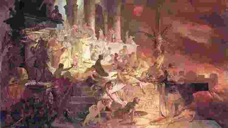 Nero e Incêndio de Roma - Reprodução / pintura de Alphonse Mucha, 1887 - Reprodução / pintura de Alphonse Mucha, 1887
