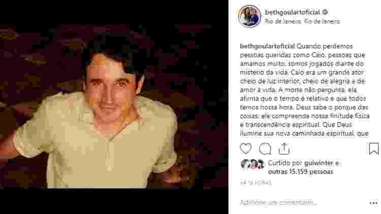 Atriz Beth Goulart também homenageia o ator Caio Junqueira - Reprodução/Instagram - Reprodução/Instagram