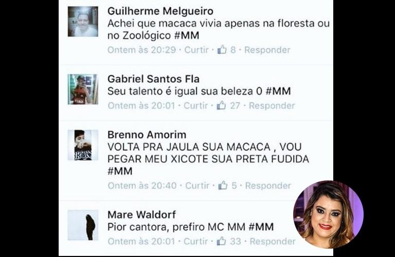 """No Instagram, Preta Gil publicou alguns comentários racistas e pejorativos que recebeu do grupo denominado """"#MM"""""""