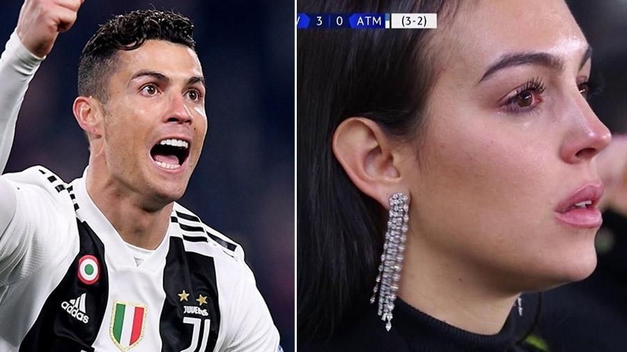 CR7 comemora o gol para a Juventus, e sua namorada se emociona - Reprodução/Alberto Lingria/Twitter