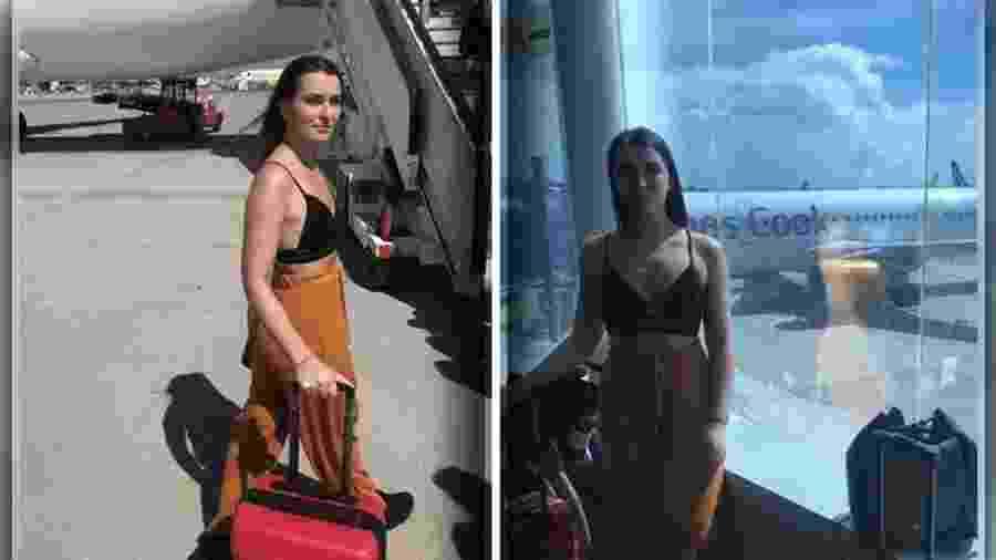 """Emily O""""Connor, de 21 anos, foi impedida de viajar porque estava usando top - Montagem BOL / Reprodução/Instagram"""
