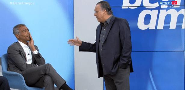 """Galvão e Romário no """"Bem, Amigos!""""; atacante furou duas vezes e levou """"bronca"""" - Reprodução / SporTV"""