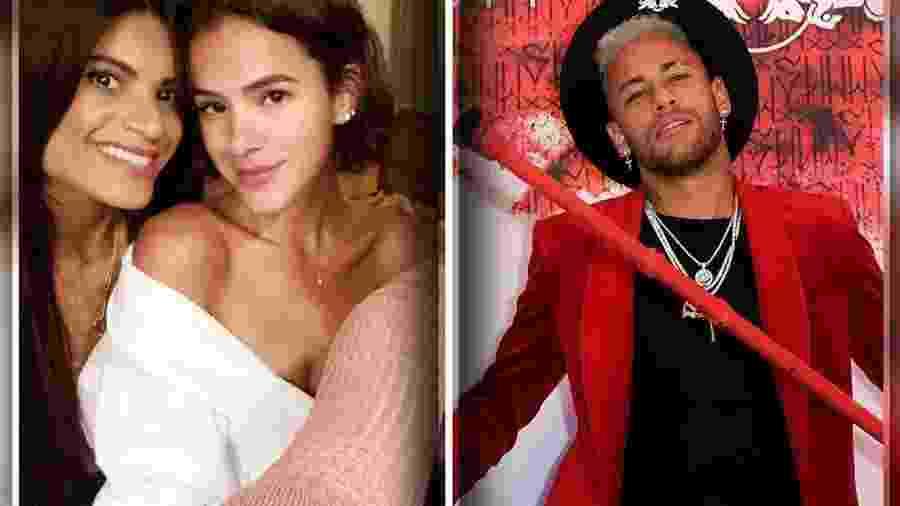Bruna Marquezine ao lado de Renata França à esquerda; Neymar em sua festa de 27 anos à direita - Reprodução/Instagram/Montagem BOL